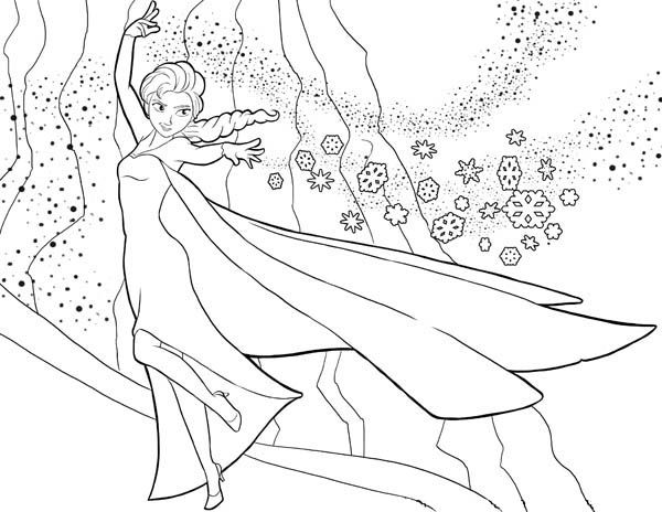 elsa the snow queen showing her magic coloring page free printable frozen coloring pages - Elsa Coloring Pages Printable