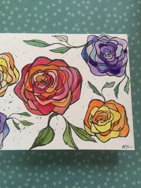 Hand Painted Rose Card Watercolor Rose Card Homemade Rose
