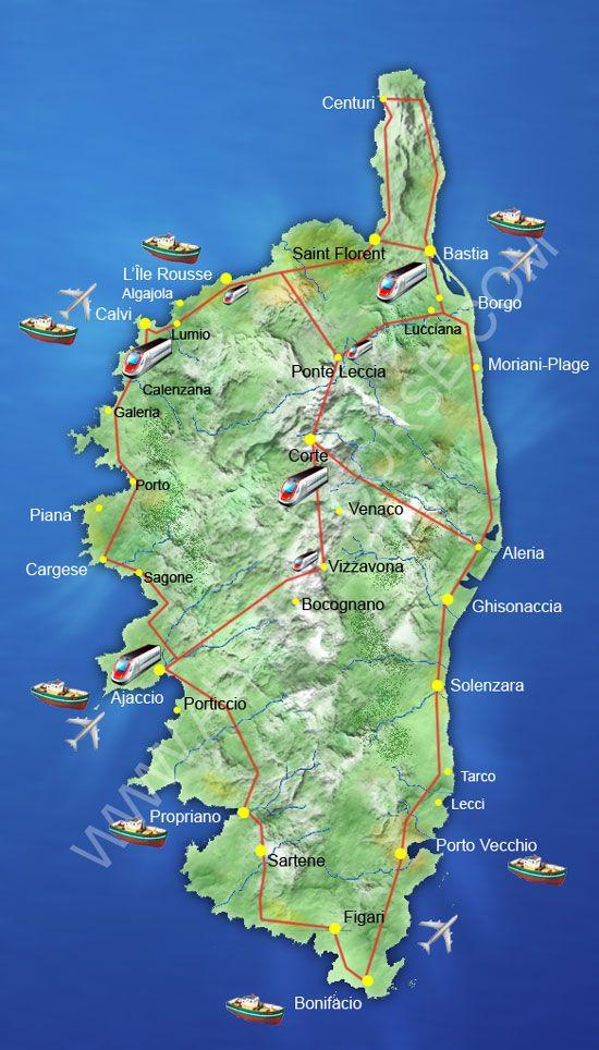 Relativ Carte de la Corse | VILLE CORSE Voyage | Pinterest | Corse, Toutes  EC25