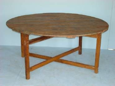 Antique Round Pine Plank Dining Table With Unusual Double Cross Stretcher Base French Circa