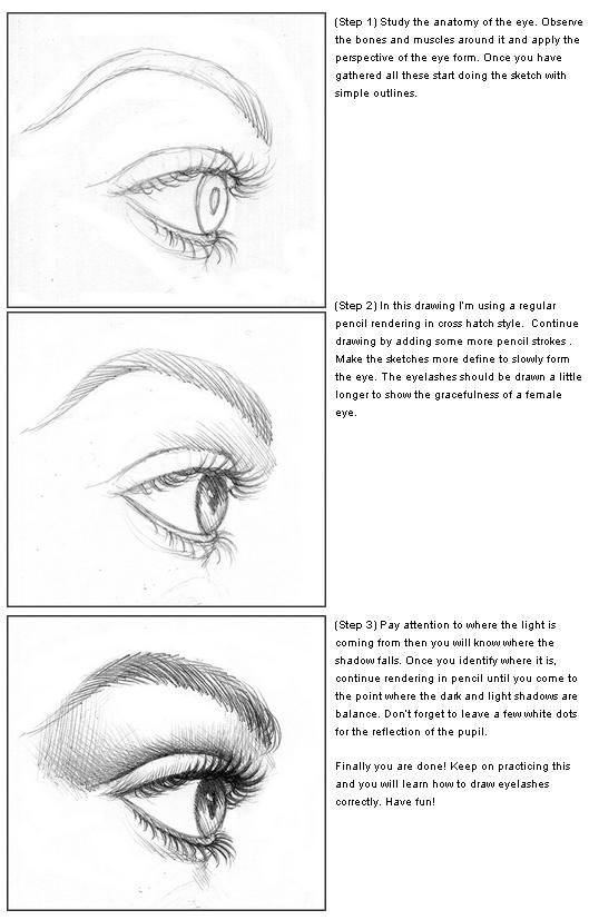 How to draw eyelashes with pencils step by step learn to