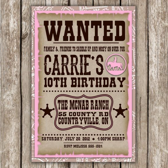 Cowgirl Wanted Invitation - Country & Western - Baby Shower ...