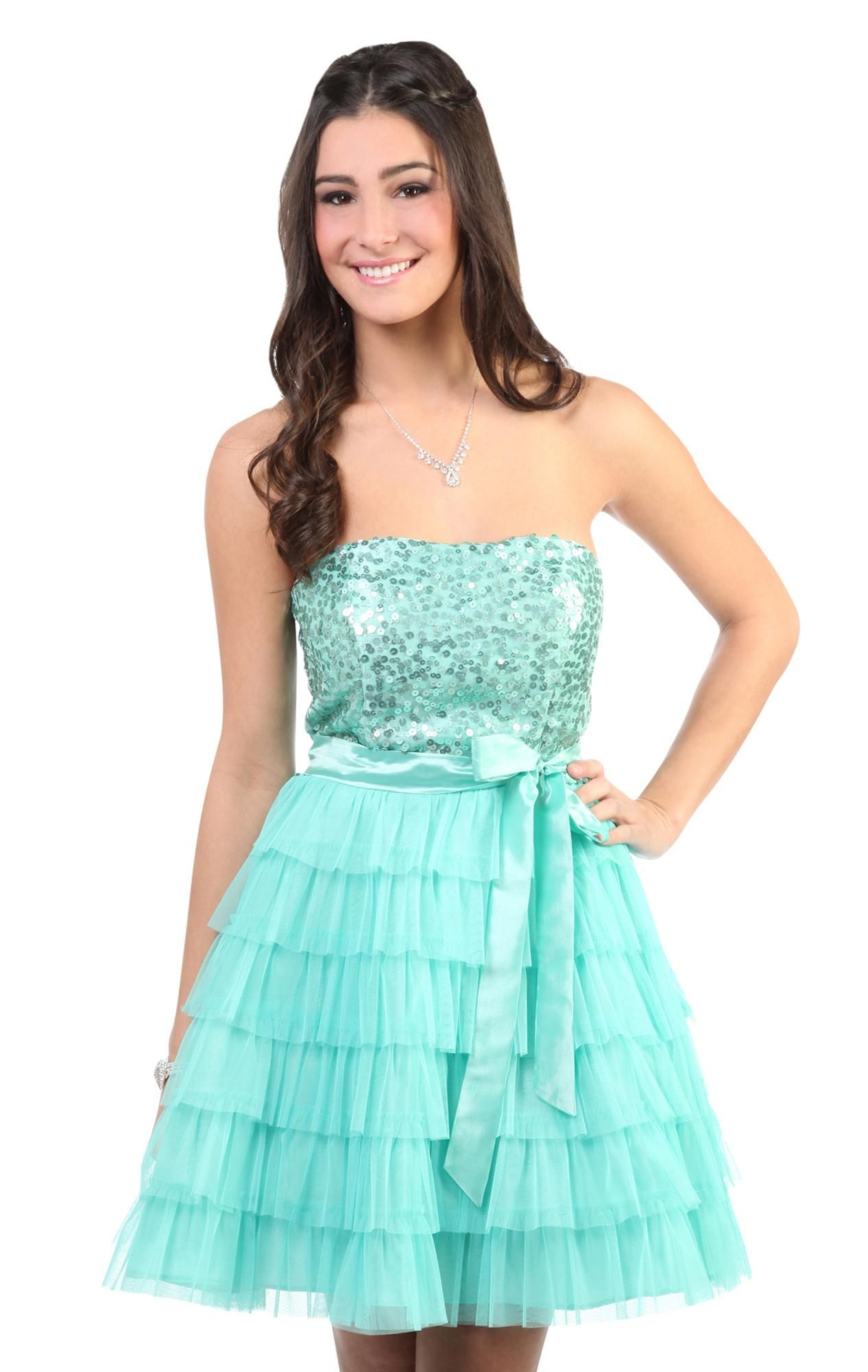 Deb Shops strapless #sequin #prom #party dress with cupcake skirt ...
