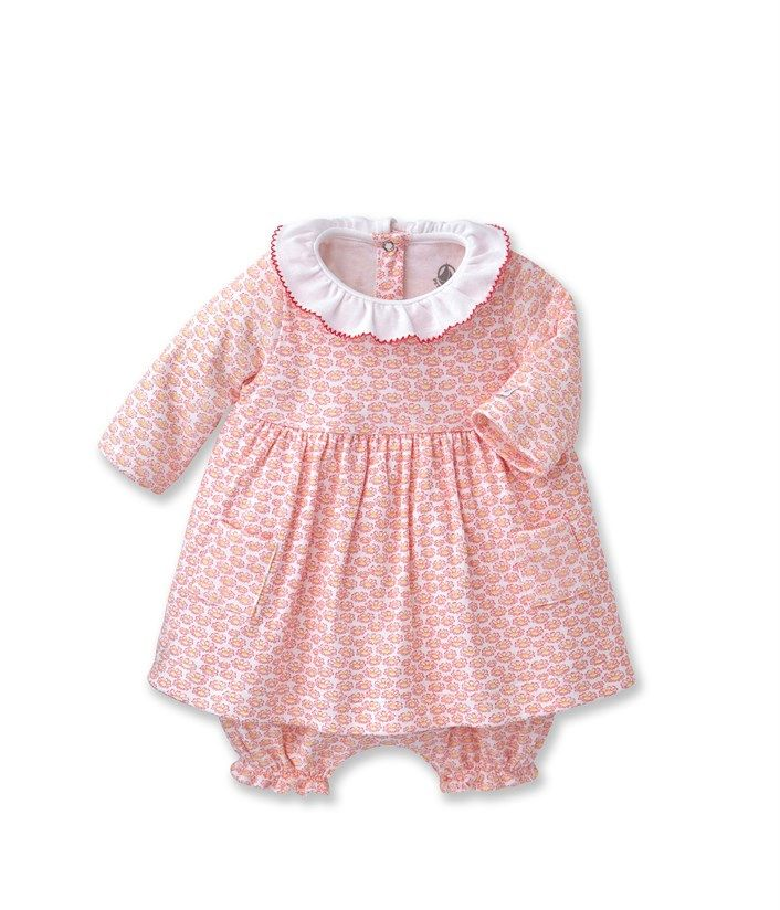 Baby girl dress and bloomers set with pastel motifs Pink - Petit Bateau