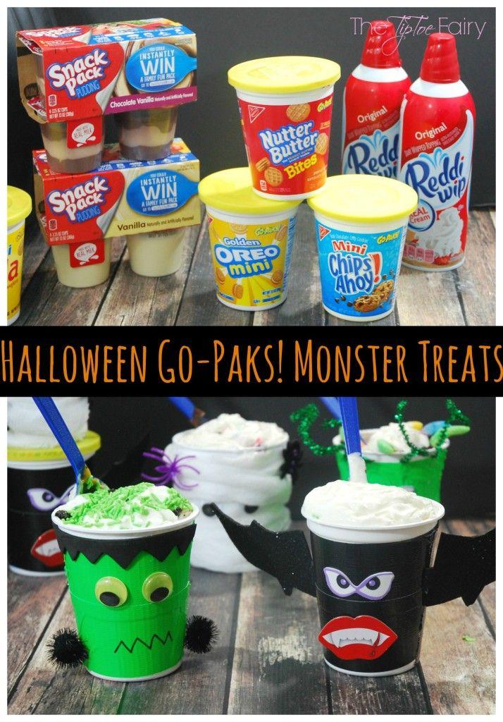 Halloween Go-Paks! Monster Treats - a fun party treat!   #ad #SnackAndGo The TipToe Fairy