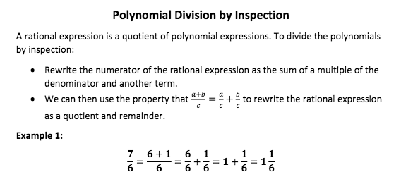 Polynomial Division By Inspection A Rational Expression Is A Quotient Of Polynomial Expressions Rational Expressions Eureka Math Polynomials