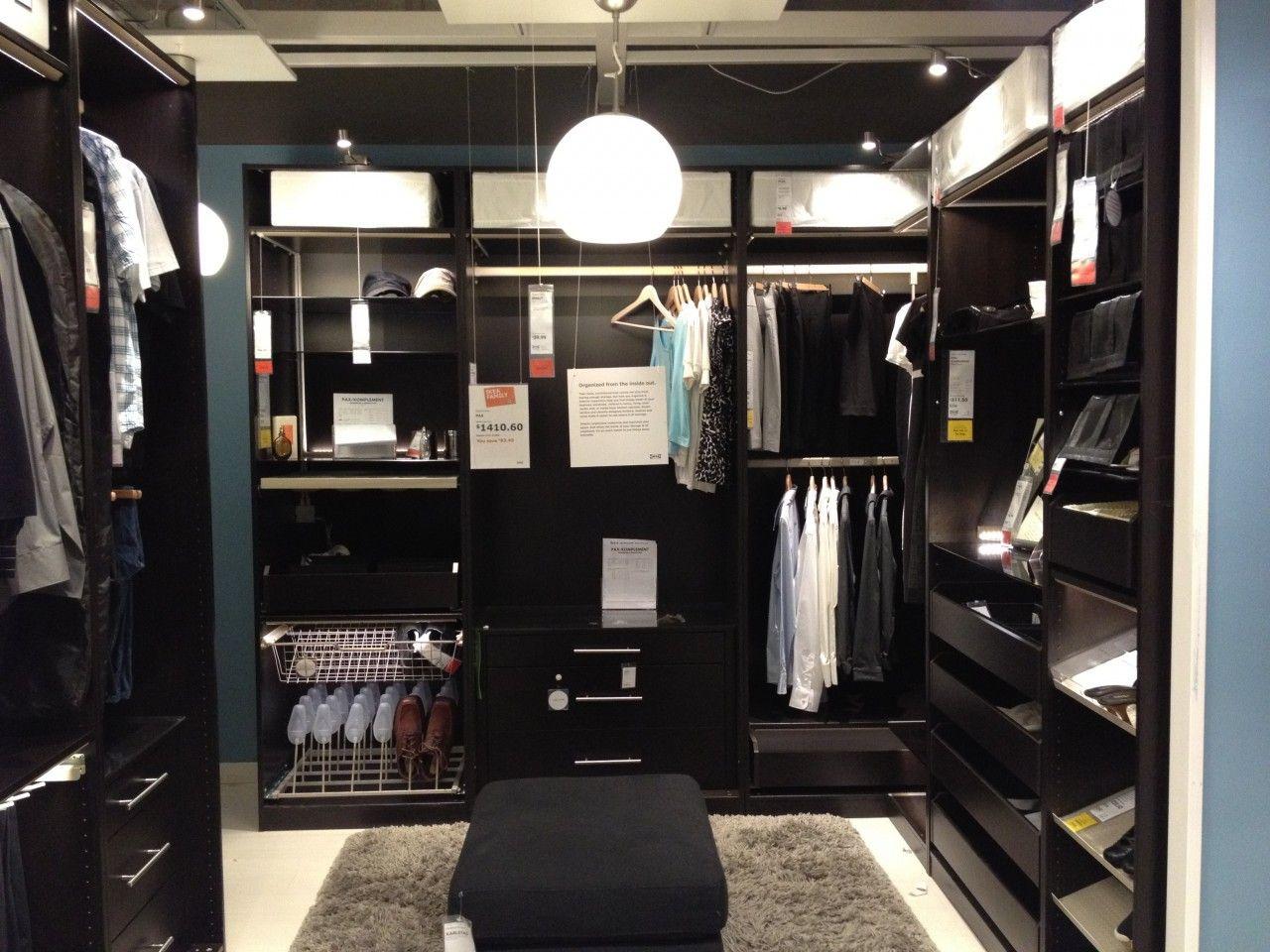 Ideas, Enchanting Ikea Walk In Closet Design With Black Ottoman On