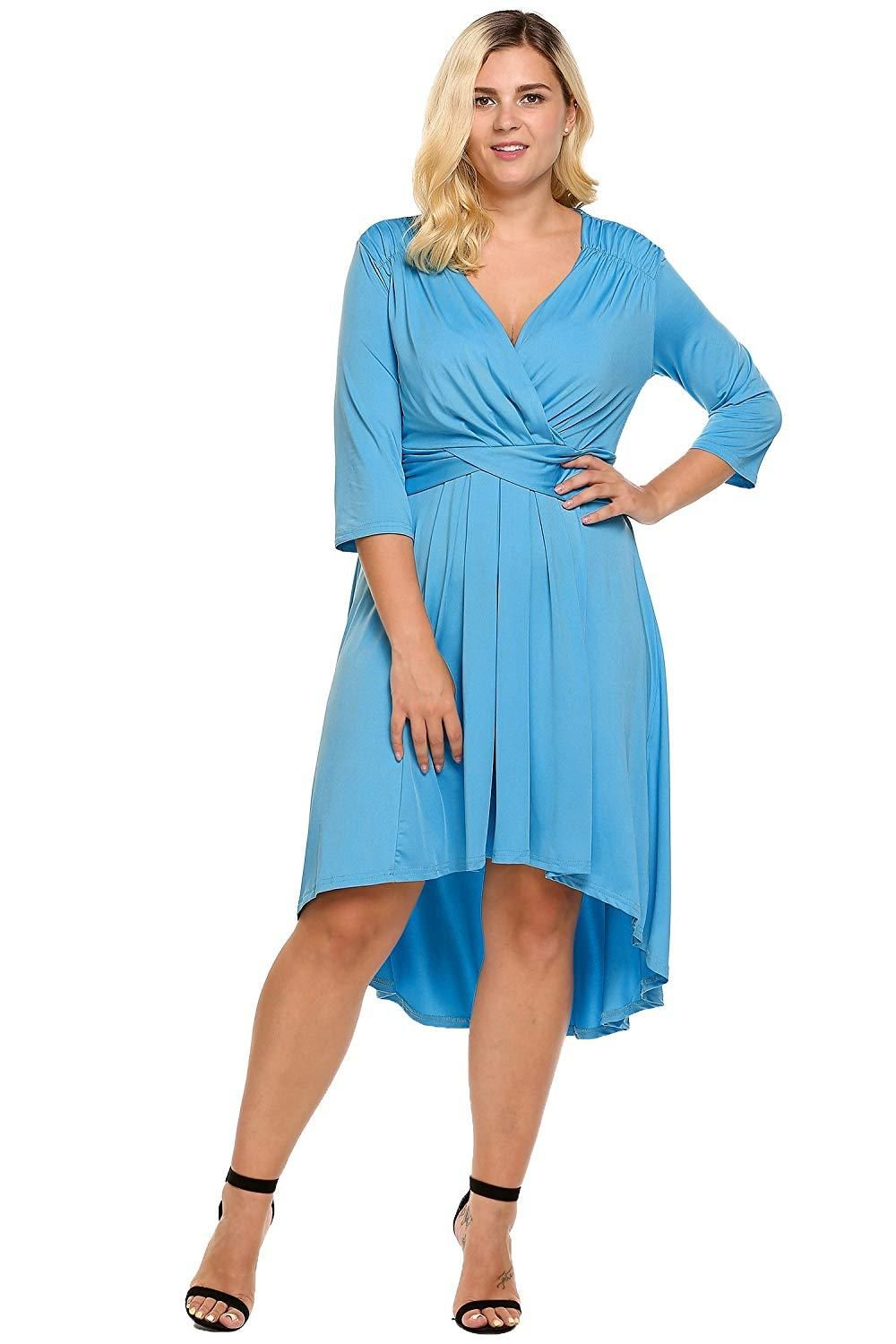 dc63cc6648d2d1 IN'VOLAND Women's Plus Size Women's 3/4 Sleeve Dress Ruched Waist Classy  V-Neck Casual Cocktail Dress