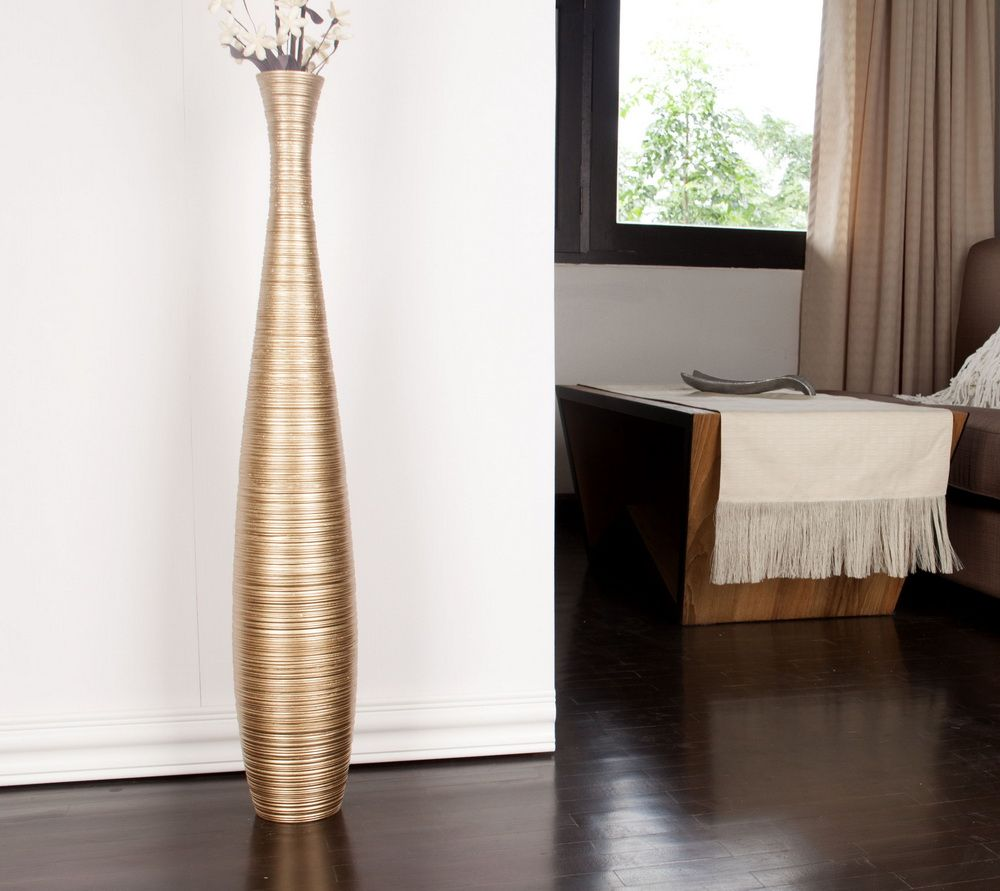 Tall Floor Vase 36 Inches Wood Gold