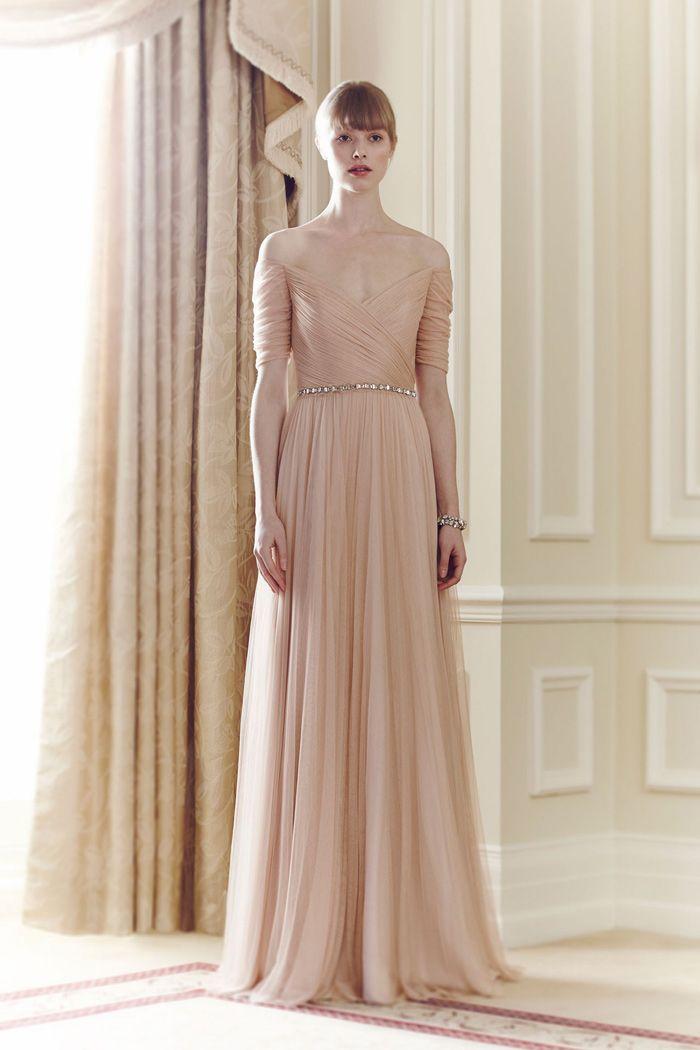 Jenny Packham Spring 2017 Off The Shoulder Champagne Pink Bridal Dress