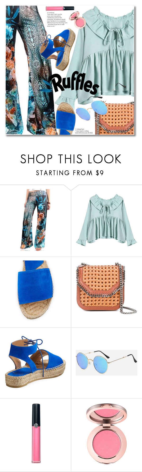 """Add Some Flair: Ruffled Tops"" by svijetlana ❤ liked on Polyvore featuring STELLA McCARTNEY, Armani Beauty, rosegal and ruffledtops"