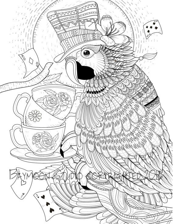 Parrot Tea Party Adult Coloring Pages | ✐Ö Adult Colouring~Owls ...