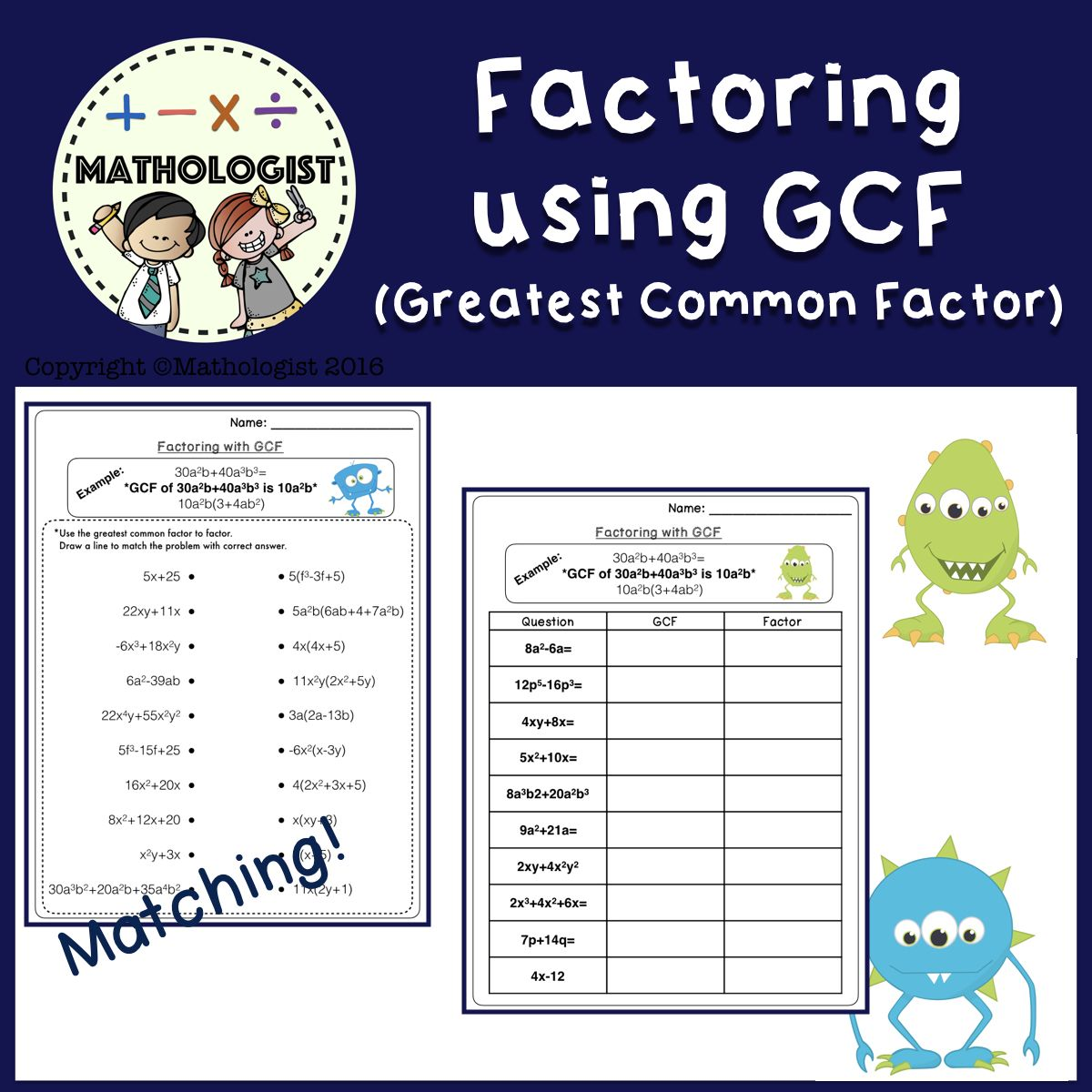 Factoring Using Greatest Common Factor Gcf Method