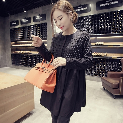 67.20$  Buy now - http://alidhm.worldwells.pw/go.php?t=32705446122 - 2016 Cotton Lycra New Arrival Real Autumn Fashion Maternity Loose And Long Sleeve A Word Stereo Polka Dress Pregnant Women