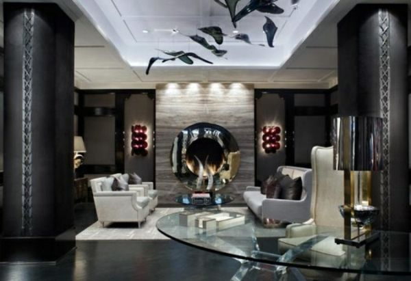 Glastisch Wohnzimmer ~ Wohnzimmer gestalten weiße decke mit dekoration glastisch