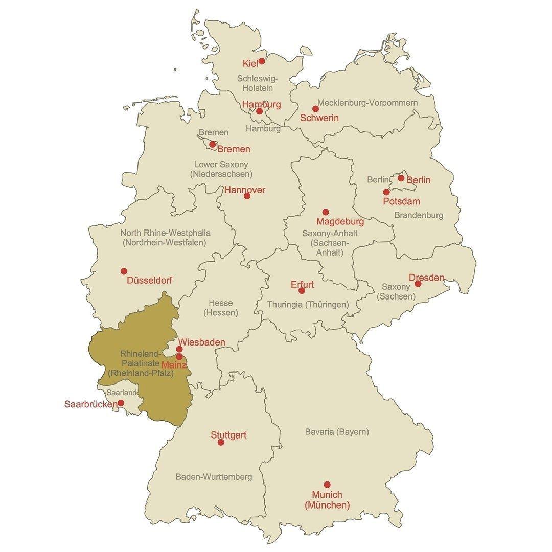 Locator Map of RhinelandPalatinate map germanymap germany
