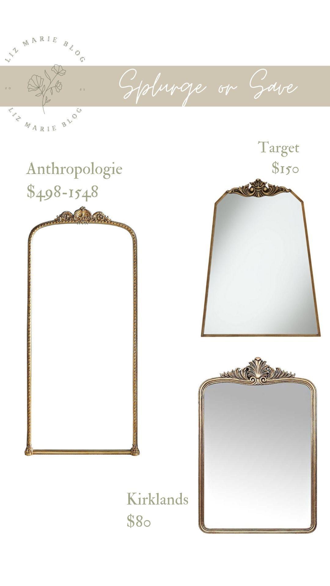 Gold Mirrors Splurge Or Save Anthro Mirror Dupes In 2021 Bedroom Decor Lights Mirror Splurge
