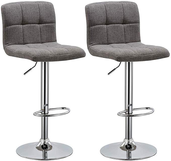 Amazon Com Duhome 2 Pcs Fabric Modern Bar Stools Hydraulic Adjustable Swivel Kitchen Counter Height Chair Modern Bar Stools Counter Height Chairs Bar Stools