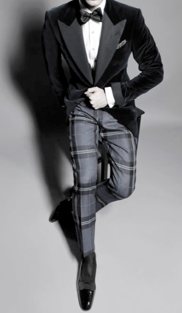 Velvet smoking jacket, plaid pants, bow tie ZsaZsa Bellagio – Like ...