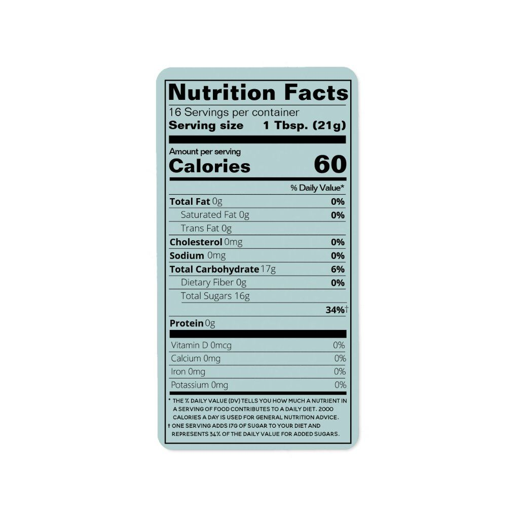 New Honey Nutrition Facts Turquoise Product Label Zazzle Com In 2021 Nutrition Facts Nutrition Facts Label Product Label