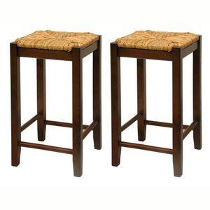 Fiber Rush Seat Backless Counter Stool Set Of 2 Wood Bar