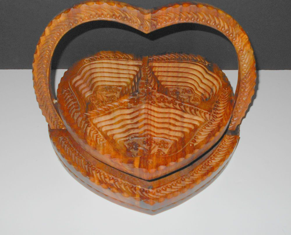 Handcrafted Collapsible Wooden Bowl Basket Very Intricately Carved