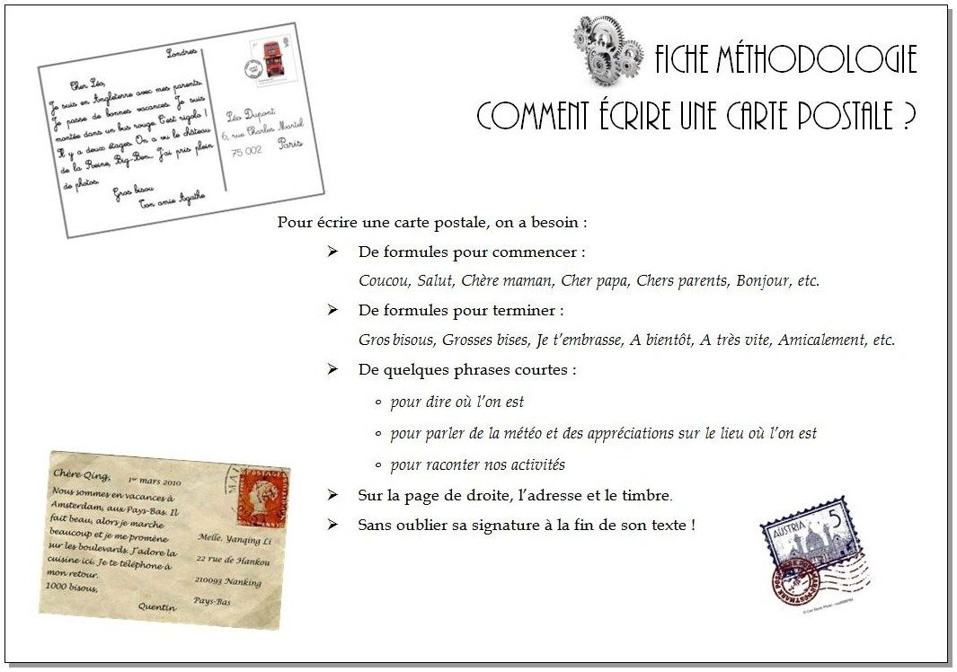 Ecrire Une Carte Postale Cm1 Cm2 Carte Postale Cm1 Cm2 Carte