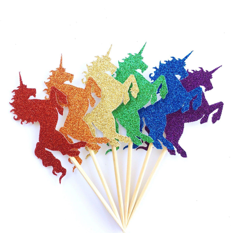 Rainbow Unicorn Cupcake Toppers Set of 12 Rainbow Glitter