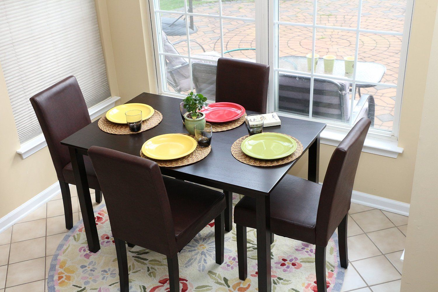 Amazon.com: 5 PC Espresso Leather Brown 4 Person Table And Chairs Brown  Dining