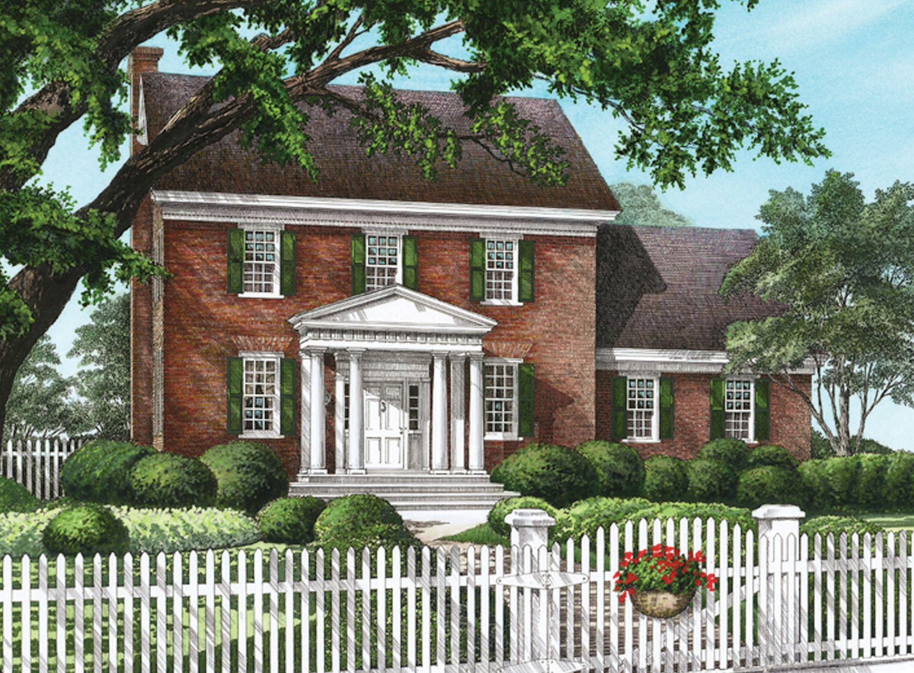 Plan 32563wp Classic Colonial Home Plan Brick Exterior House Colonial House Plans Colonial House