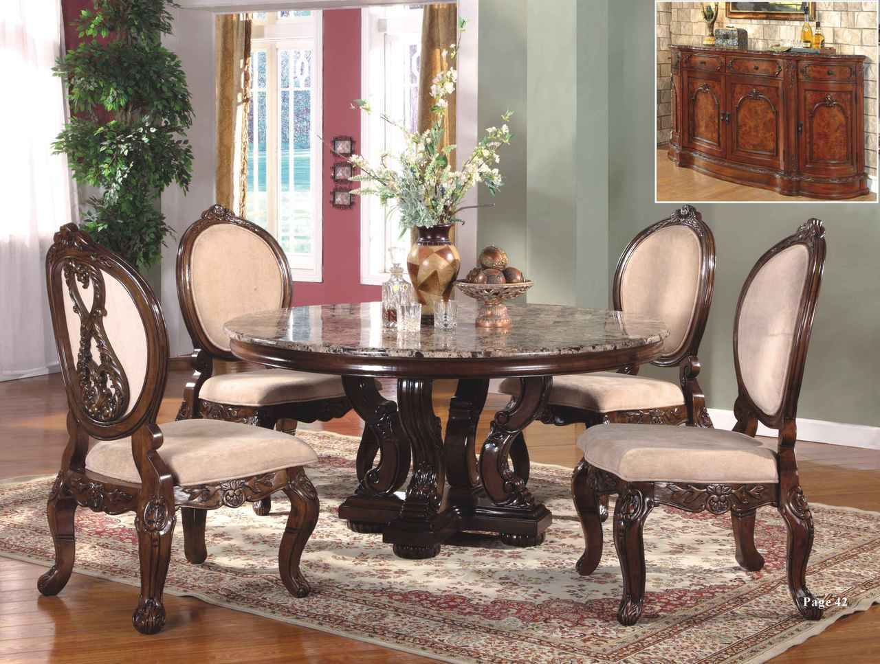 Abbyville 60 round marble cherry dining table set for Formal dining room tables