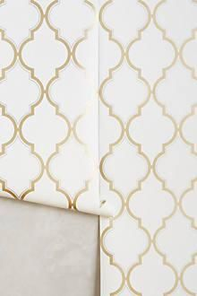 Florin pale gold wallpaper traditional art deco fan trellis price per roll
