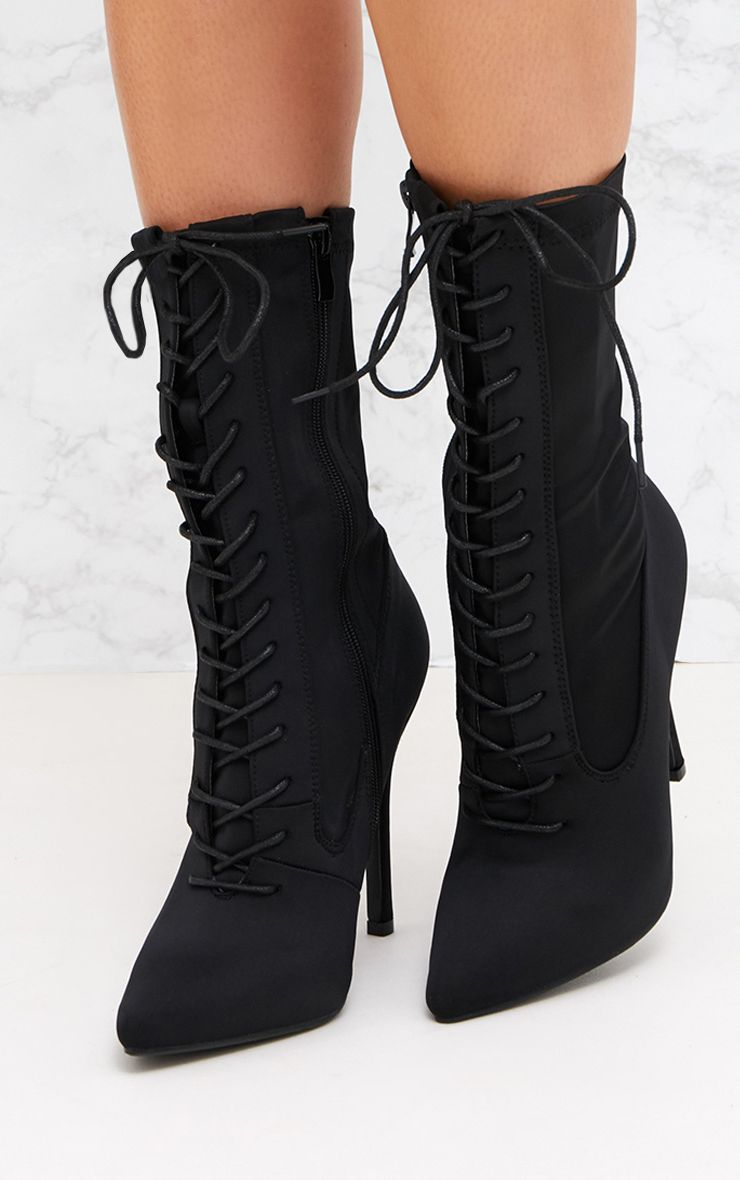 Black Lace Up Front Sock Boots in 2020