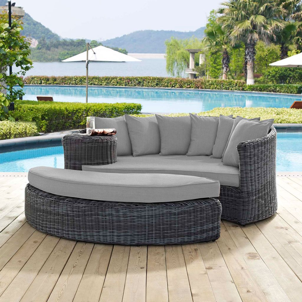 Modway summon 2 piece outdoor daybed set in a charcoal canvas gray finish eei 1993 gry gry experience the outdoors with exceptional comfort and quality