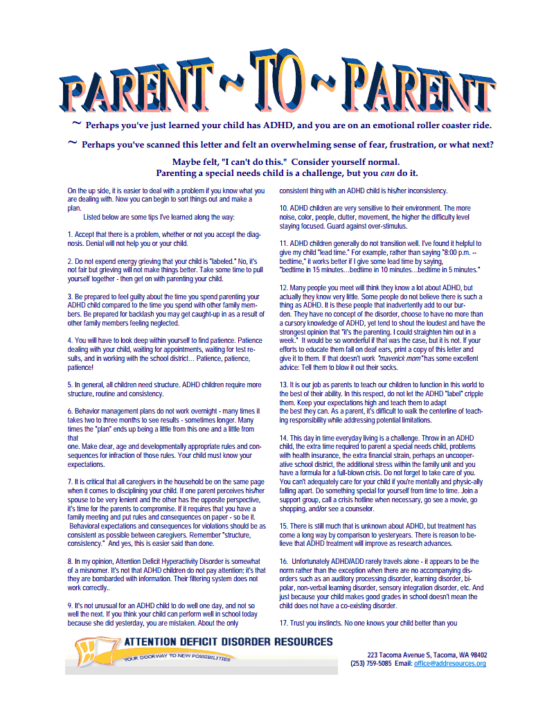 Addressing Special Needs Parents >> Parent To Parent What You Need To Know About Adhd Becoming The