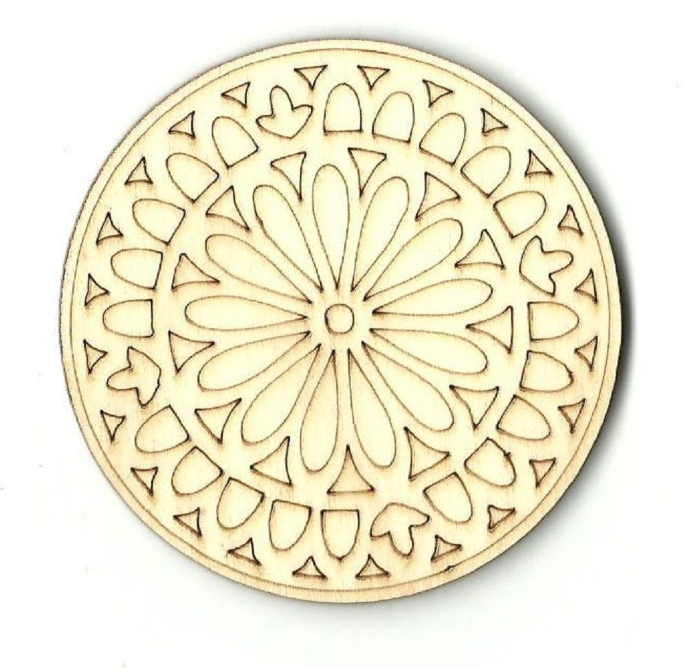 Floral Decorative Coaster Wall Decor Unfinished Laser Cut Wood ...
