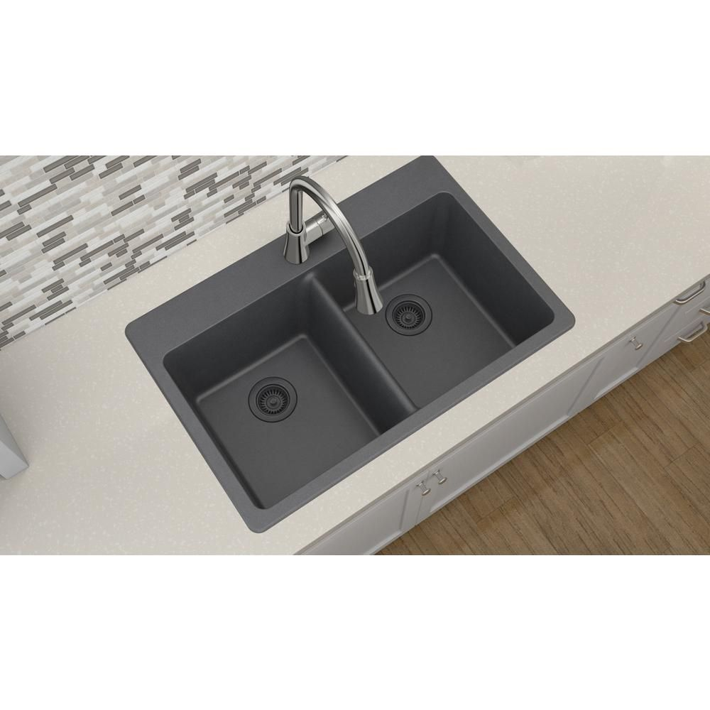 Elkay Quartz Classic Drop In Composite 33 In. Double Basin Kitchen Sink In  Dusk Gray   ELG3322GY0   The Home Depot