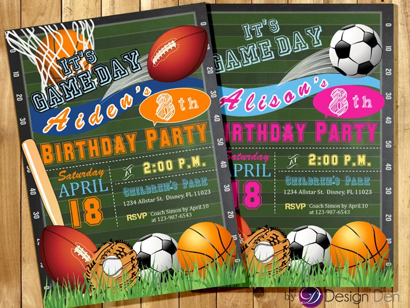 All Star Invitation Sports Theme Boys Or Girls By ByDesignDen