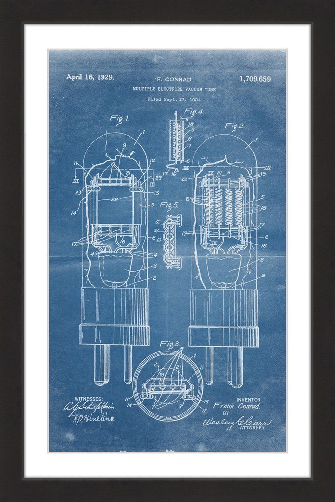 Vacuum tube 1924 blueprint vacuum tube vacuums and paper artwork vacuum tube 1924 blueprint marmont hill malvernweather Image collections