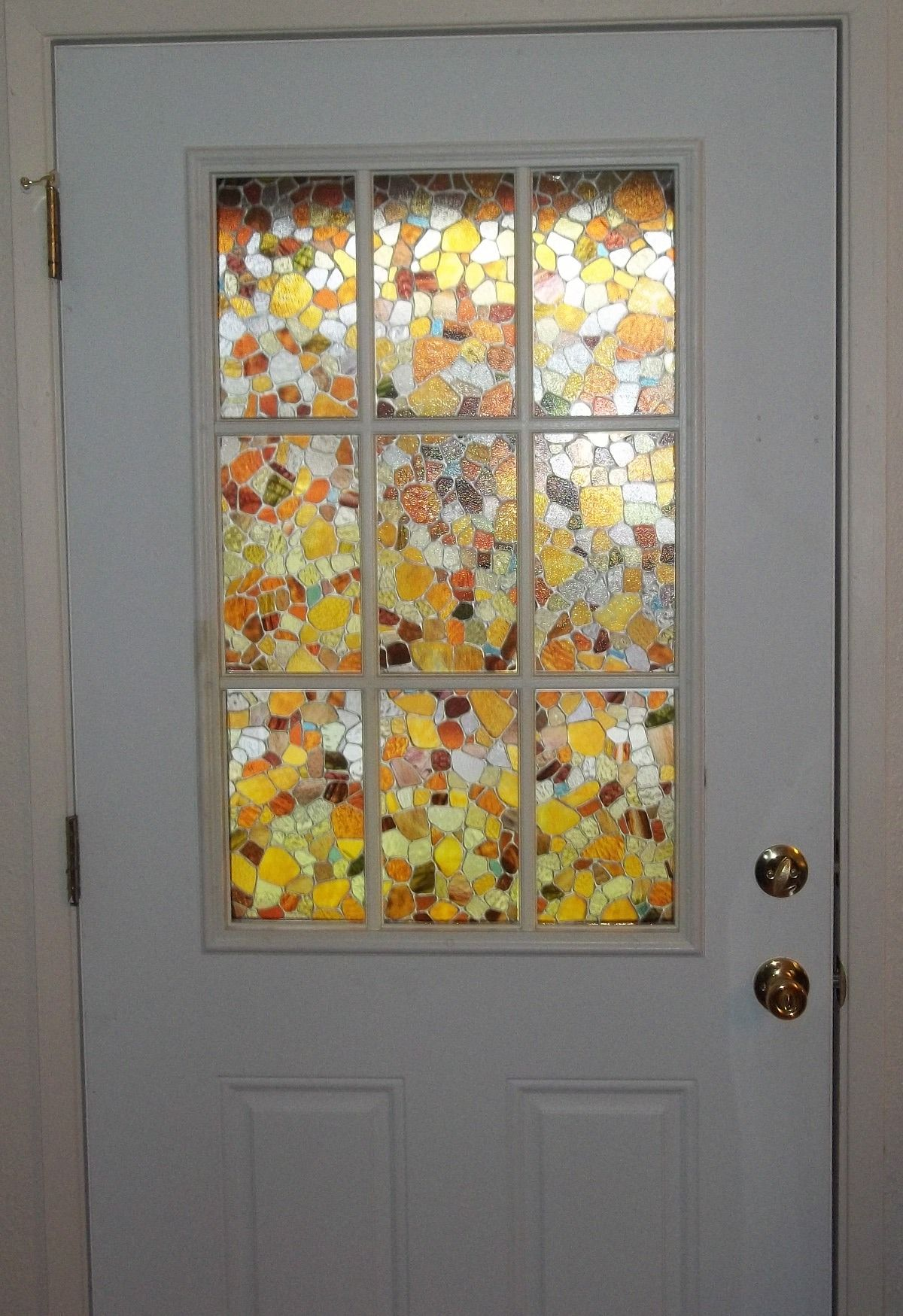 fake stained glass panels on my front door light effects