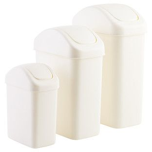 Beautiful White Swing Lid Trash Can
