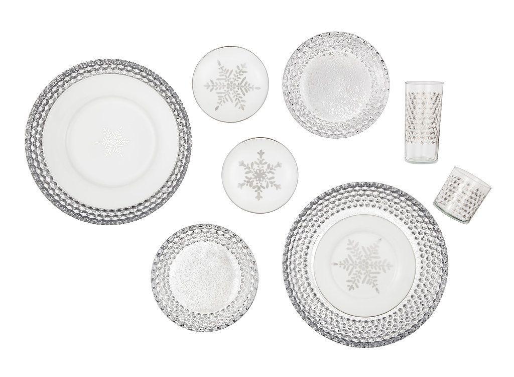 Threshold Snowflake Plates ($2-$5), Mercury Glass Plates ($4-$16), Glass Drinkware ($20 for four)