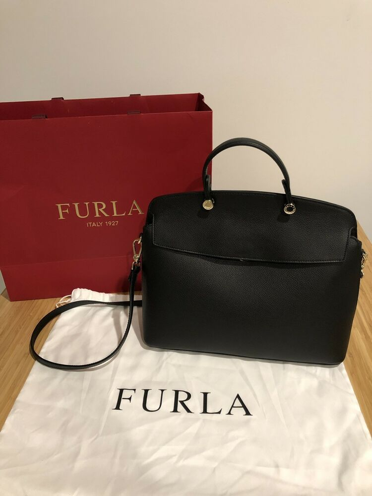 395ab3a6ba2679 Furla Bag My Piper Top Handle M Medium Onyx Black Grain Leather Satchel Tote  #fashion #clothing #shoes #accessories #womensbagshandbags (ebay link)