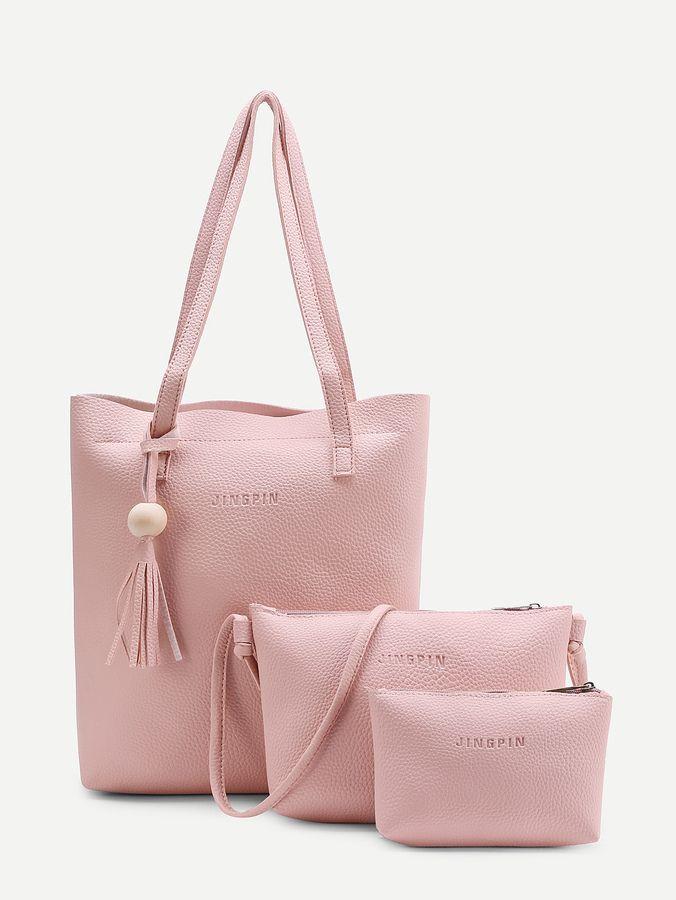 b551d05e6d Shein Fringe Detail PU Bag Set 3pcs Latest Fashion Trends