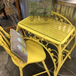 Yellow Wicker Desk And Chair Used Furniture Louisville Ky