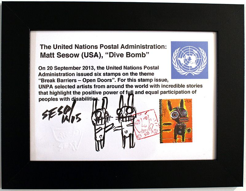 Matt Seso artwork UN Break Barriers stamp and info card
