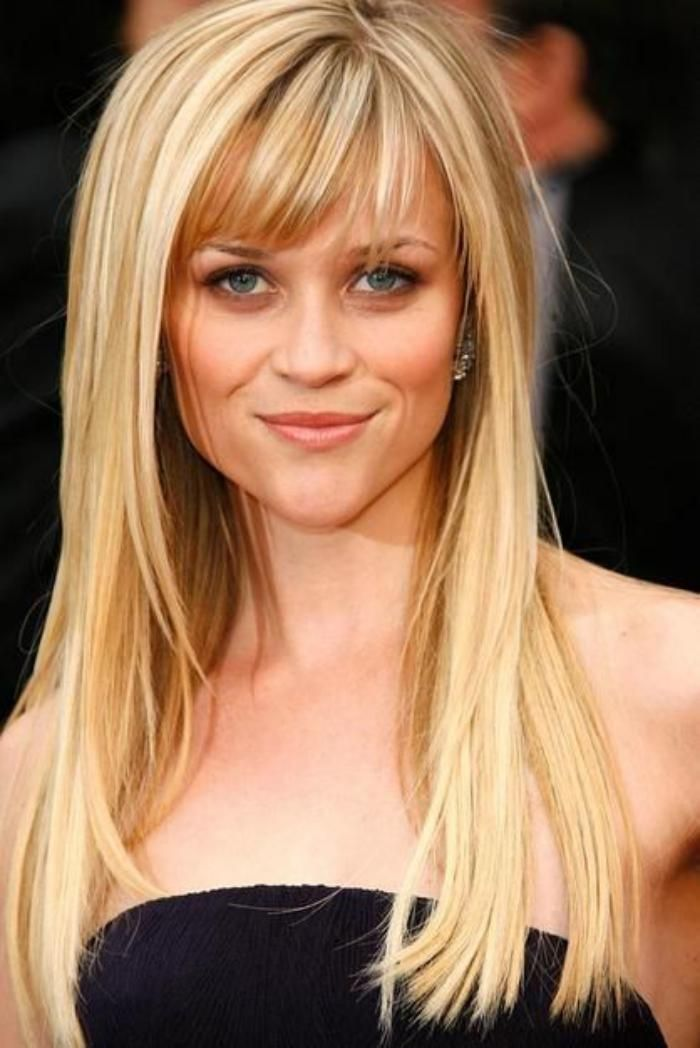 coupe cheveux long blond frange