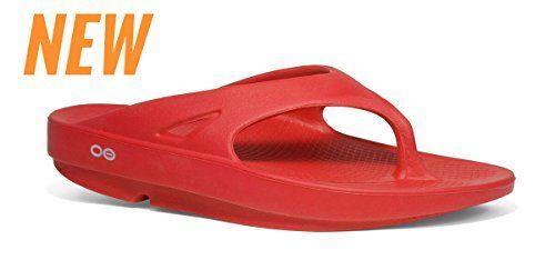 21b2b9df1c31 Oofos OOriginal Thong Sandal RED INCLUDES FREE FOOT ROLLER MASSAGER Men 7  Women 9
