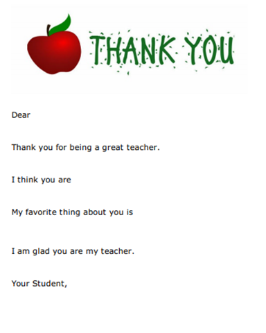 Free Teacher Thank You Note Template It S Teacher Appreciation Week Don T Forget To Have Thank You Note Template Teacher Thank You Teacher Thank You Letter