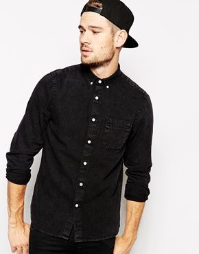 ASOS Denim Shirt In Long Sleeve With Black Overdye - $49 | Fashion ...